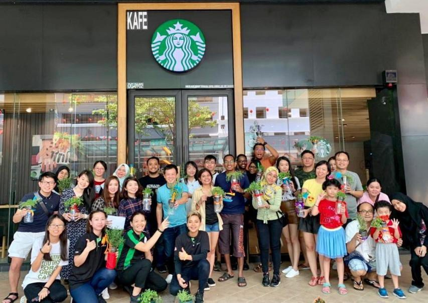 Starbucks Green Outreach Programme: Upcycling Bottle into Self-watering System