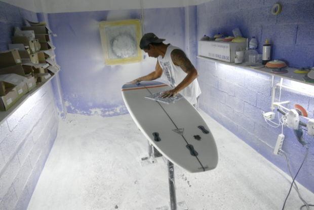 Turning abandoned fishing nets into surfboard fins.